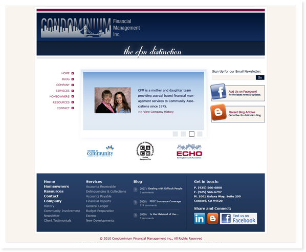 Condominium financial Management, Web Site & SEO Bay Area, CA