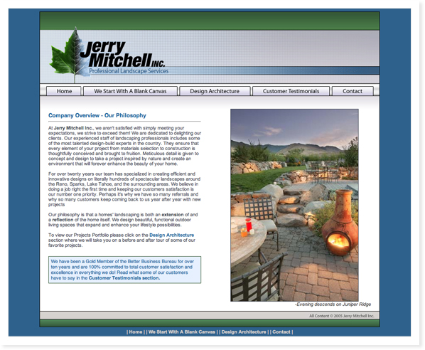 Jerry Mitchell Landscapes, Web Site & SEO Roseville, CA