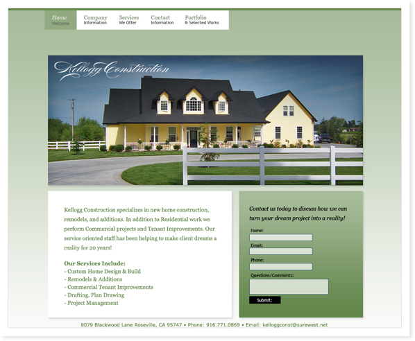 Kellogg Construction, Web Site & SEO Roseville, CA