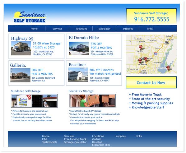 Norcal Designs Web Site Design Roseville Ca Web Site Sundance Storage